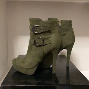 G by Guess dark green booties